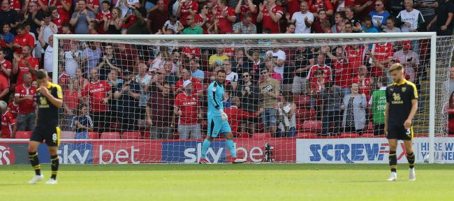 Oxford United goalkeeper Simon Eastwood looks on as Barnsley score during their 4-0 win on the opening day of last season Picture: Richard Parkes