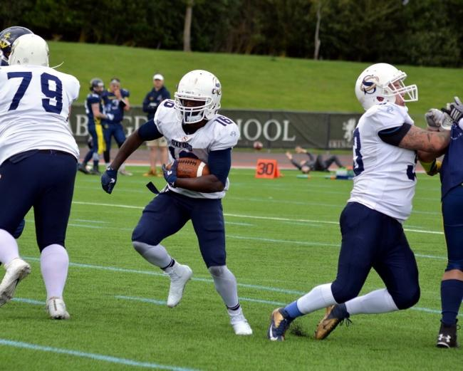 Captain Tony Glover scores Oxford Saints' first touchdown during their defeat to Portsmouth Dreadnoughts at Tilsley Park Picture: Chris Janes