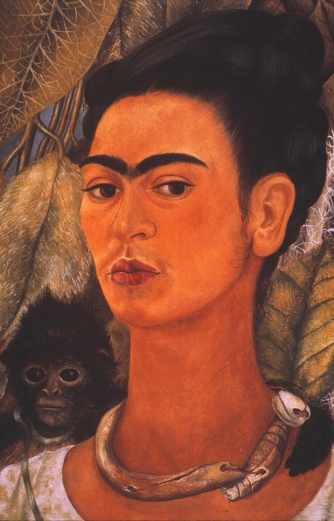 Portrait of the artist: Frida Kahlo (1907-1954). Self-portrait with monkey, c1940
