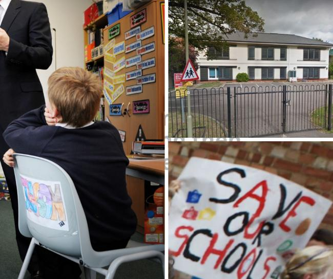 Northern House School classroom/ exterior, bottom right, a sign at an Oxfordshire school funding protest last year