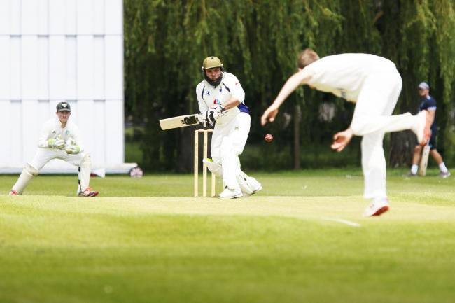 Twyford's Shahid Mahmood gets ready to pull this delivery from Abingdon Vale's Joe Butcher Picture: Ed Nix