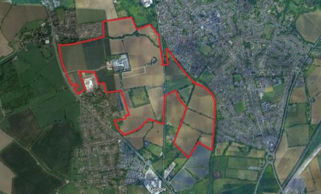 A map showing the proposed new Begbroke development marked approximately in red (not to scale)