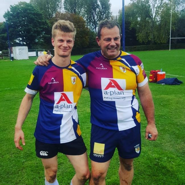 Paul de Lange (right) and son Kieran de Lange are all smiles after playing together for the first time