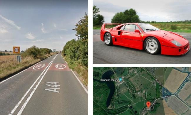 Left and bottom right, the A44 near Bladon where John McGurk is alleged to have driven dangerously. Pictures: Google Maps. Top right, file photo of a Ferrari F40. Picture: Will Ainsworth/ Bob Castle
