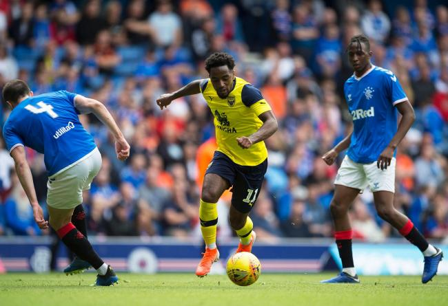 Tariqe Fosu on the attack against Rangers in his Oxford United debut   Picture:  Ian Rutherford/PA Wire