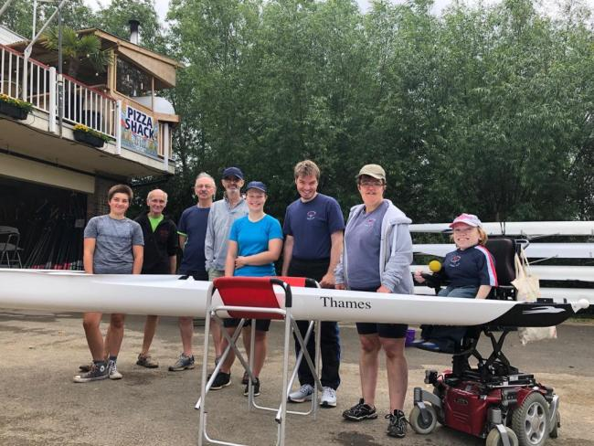 Members of City of Oxford Rowing Club's adaptive squad with the new boat Picture: Thames Water