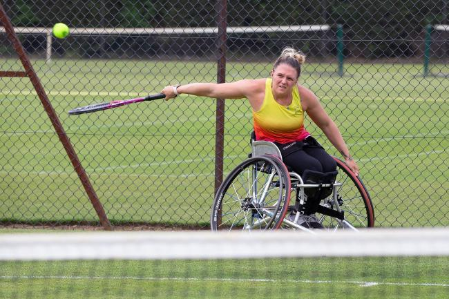 Jordanne Whiley during practice at North Oxford LTC last week Picture: Nigel Francis Photography