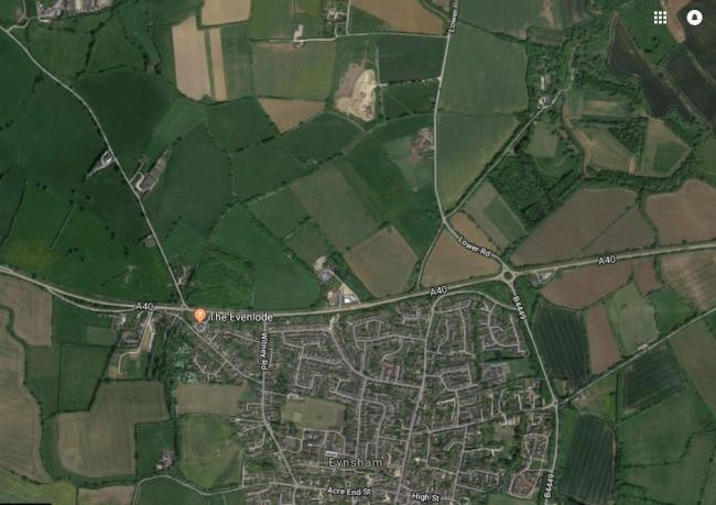 The garden village would be built north of the A40, near Eynsham Pic: Google Maps
