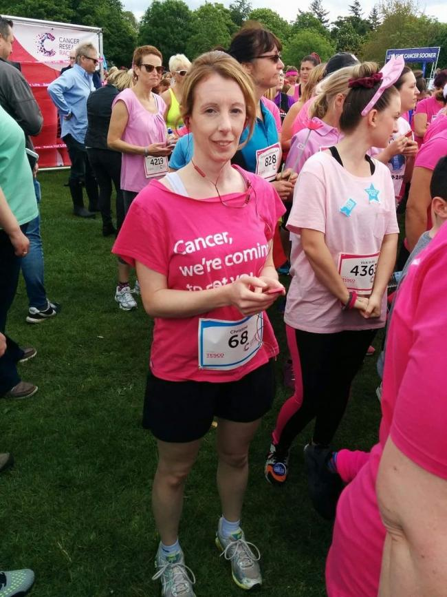 Christine Palfrey at a previous Race for Life event. Picture: Cancer Research UK