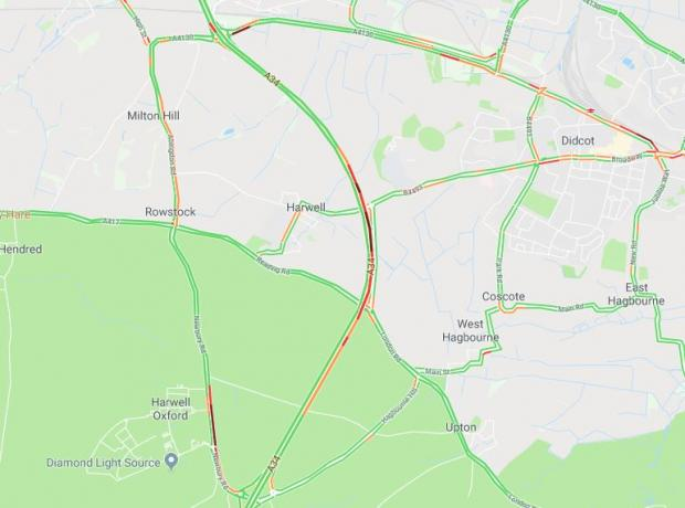 Oxford Mail: Traffic on the A34 at 5.43pm. Picture: Google Maps