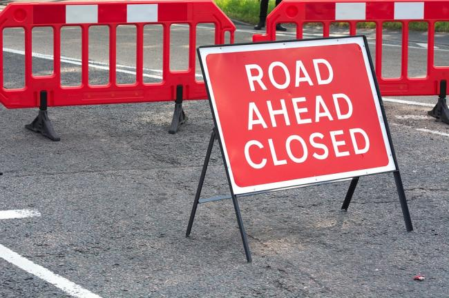 Road closure sign (stock image)