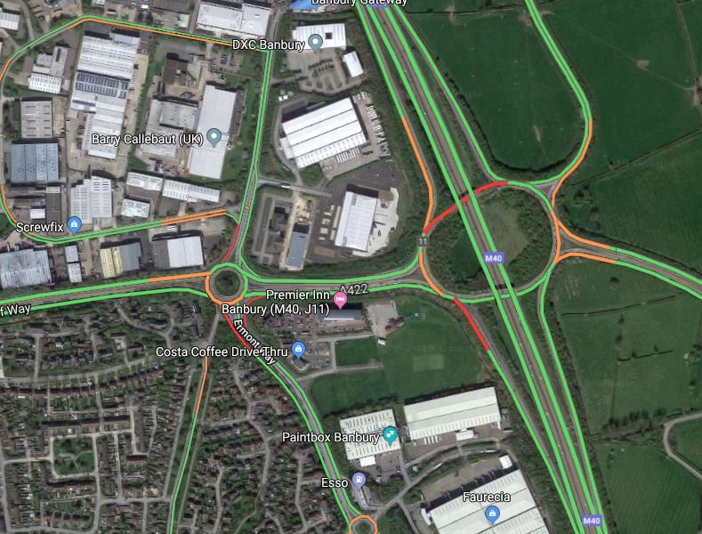 M40 junction 11 slip road crash at Banbury closes lane