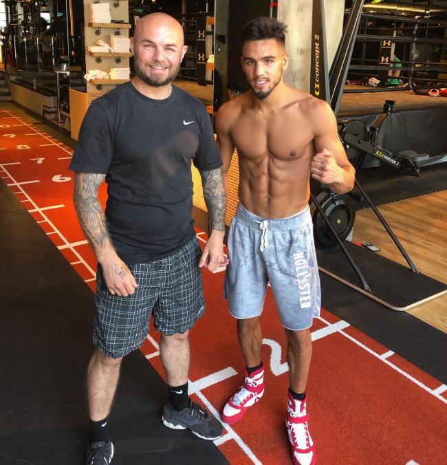 Jordan Flynn (right) with his new trainer Kevin Mitchell at BXR London
