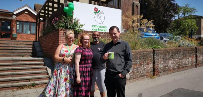 L-R Emmaus staff Samantha Muir, Hannah Hutchings, Karl Bergan (supported by Emmaus) with general manager Eddie Blaze