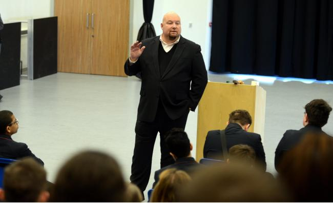 File photo of ex-gangster John Pridmore giving a talk about his life at a school