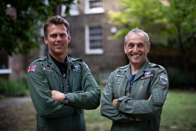 Spitfire pilots Matt Jones (left) and Steve Boultbee Brooks who will attempt to fly a newly-restored MK IX Spitfire named 'Silver Spitfire' around the world. Picture: Aaron Chown/PA Wire