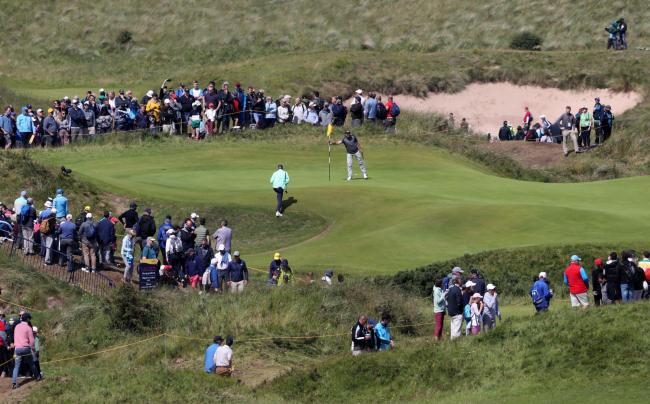 Eddie Pepperell on the sixth green at Royal Portrush Picture: Niall Carson/PA Wire