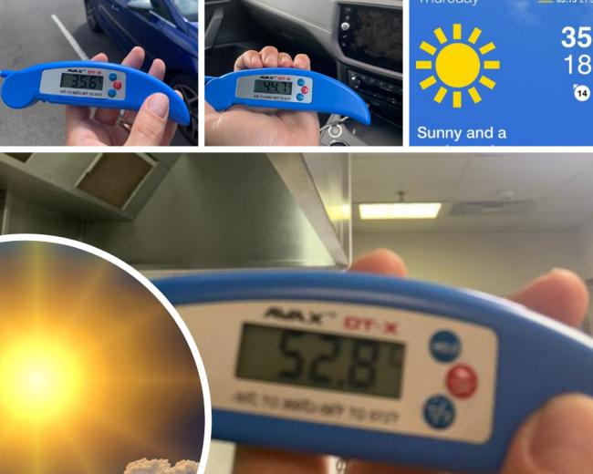 So just how hot is it? We got the thermometer out...