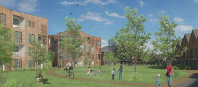 An artist's impression of some of the flats at William Morris Close. Picture: Oxford City Council.