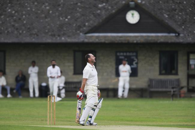 Faringdon's Andy Liddiard shows his disappointment at being dismissed before the match at Chipping Norton was abandoned Picture: Ed Nix