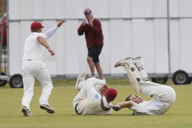 Didcot's wicket-keeper and slip are left on the ground during their Cherwell League Division 1 fixture at home to Westbury Picture: Ed Nix
