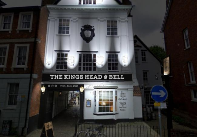 An artist's impression of what the new lighting and signage at the Kings Head and Bell pub, Abingdon, will look like. Picture: Tibbatts Design Ltd/ Vale of White Horse District Council