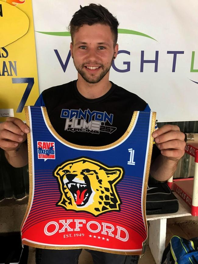 Heat leader Danyon Hume with his Oxford Cheetahs race jacket ahead of tonight's challenge match