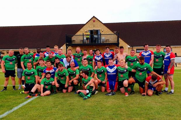 Oxford Cavaliers and Cheltenham Phoenix pose for a photo after the Plate final
