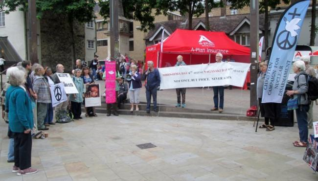 Dozens gathered in Bonn Square to mark Hiroshima Day Picture: Oxford CND