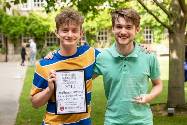 Cherwell School Daniel Treuherz and Toby Saunders win Audience Choice award and second-place prize in Hertford College, Oxford's 'Unsung Heroes of Science' video competition. Pic: Hertford College