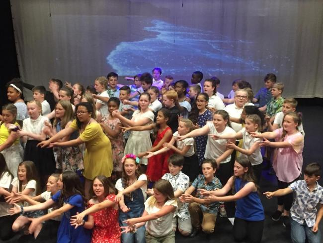 Pupils from Willowcroft Primary School perform Mamma Mia at the Cornerstone Theatre. Pic: Willowcroft