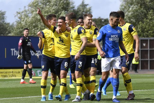 Cameron Brannagan celebrates putting Oxford United in front against Peterborough United  Picture: David Fleming