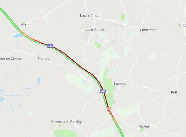 Oxford Mail: Traffic on the M40 between Junction 9 and 8 at 8.02am via Google Maps