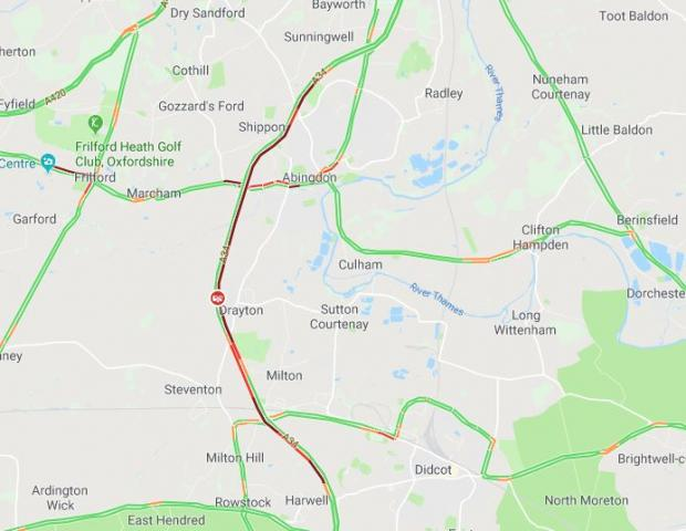 Oxford Mail: Traffic on the A34 around Milton at 8.03am via Google Maps