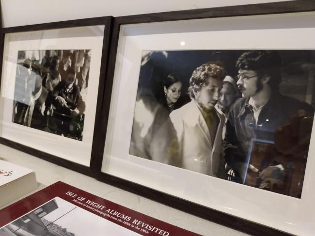 Framed pictures of Bob Dylan at Ray Foulk's home Picture Andy Ffrench