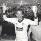 Oxford Mail: ON THE UP: Player-manager Phil Neal celebrates after Wanderers beat Wrexham in May, 1988, to earn promotion back into the Third Division, a season after they were relegated