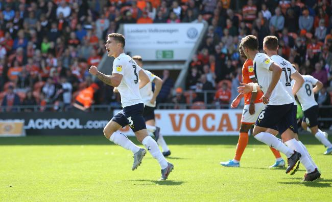 Josh Ruffels celebrates pulling a goal back for Oxford United at Blackpool  Picture: Richard Parkes