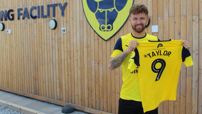 Matty Taylor with his new No 9 shirt  Picture: Oxford United