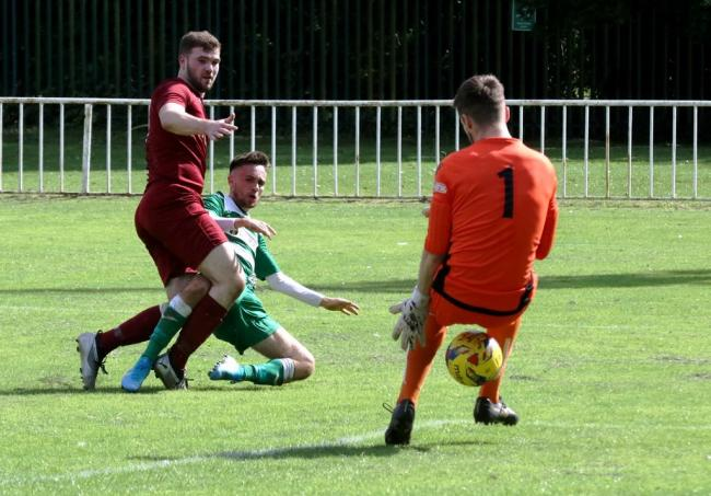 Jack Buchanan gives Wantage Town the lead during their 2-1 defeat at Welwyn Garden City on Saturday Picture: John Wood