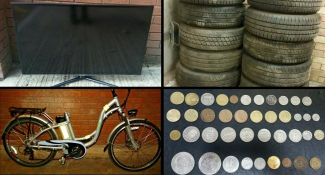 Thames Valley Police are trying to sell some commemorative coins, some tyres, a 3D TV and an electric bike on eBay