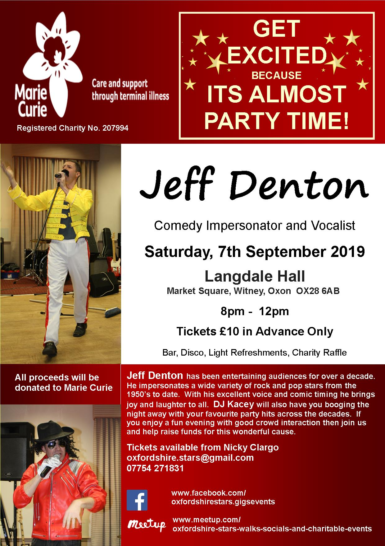 Jeff Denton, Comedy Impersonator and Vocalist in aid of Marie Curie
