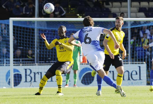 Shandon Baptiste in action during the goalless draw at Bristol Rovers last October. The midfielder has not played a league game since, but is fit for selection in tomorrow's return to the Memorial Stadium 	Picture: David Fleming