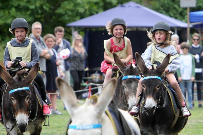 Three children feel the wind in their hair at the annual Bampton Donkey Derby Picture: Ric Mellis