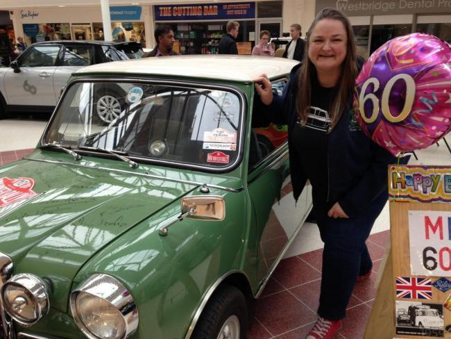 Tanya Field with a 1969 Mini