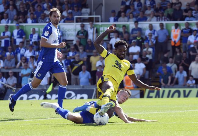 Tariqe Fosu is fouled in Oxford United's defeat at Bristol Rovers   Picture: David Fleming