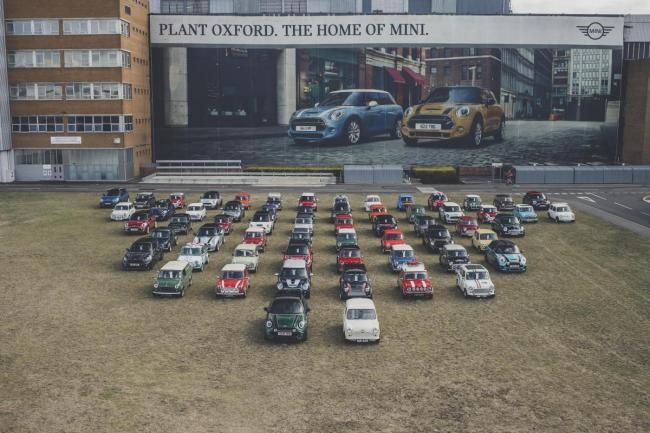 MINI owners gathered with 60 cars from each of the brand's 60 years gathered at the Oxford plant for a similar convoy earlier this month Picture: Amy Shore