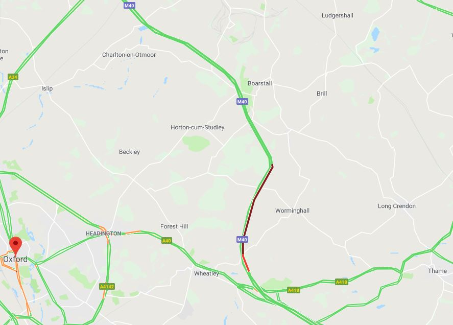 M40 crash between junctions 9 and 8a - police on scene