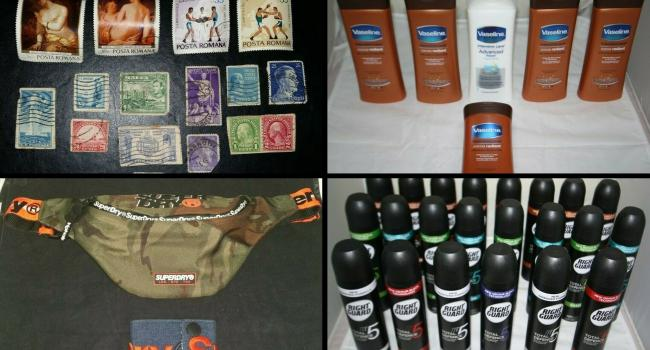 TVP ebay bargains. Top left clockwise: Stamps, Vaseline moisturiser, pack of 22 Right Guard deodorants, Superdry bumbag and denim wallet. Pics from Thames Valley Police eBay page.