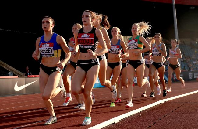 Oxford City AC's Hannah England finds herself in the middle of the pack during her 1,500m heat in what was likely to have been her final British Championships Picture: Simon Cooper/PA Wire