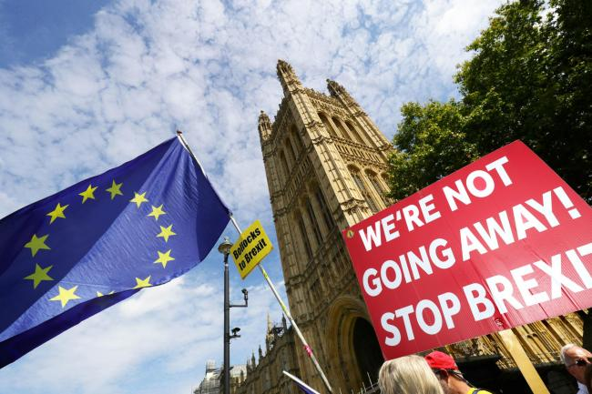 Anti-Brexit protesters outside the Houses of Parliament on Wednesday. Picture: Aaron Chown/PA Wire